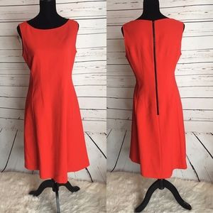 Lafayette 148 New York red wool fit flare 8 dress